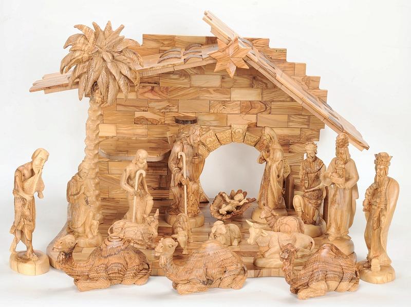 Large Beautiful Indoor Olive Wood Nativity Set Holy